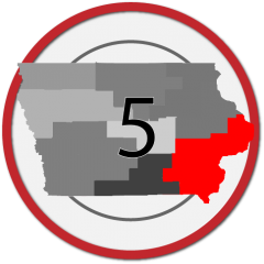 "State of Iowa with grayed service area regions and number ""5"" overlaid.  Southeast region 5 is colored red."